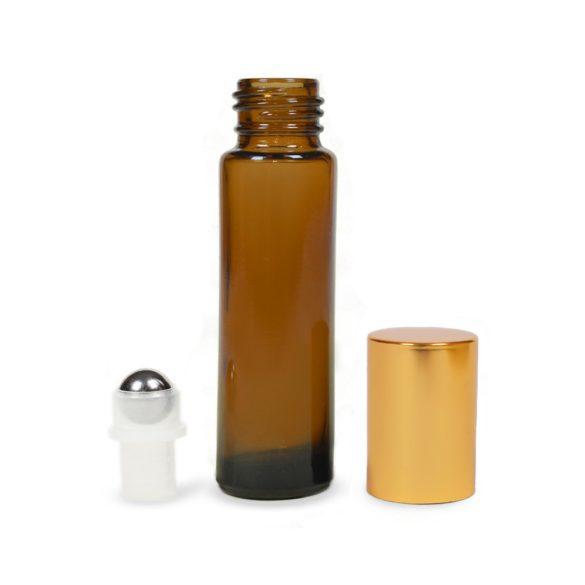 Mini golyós üveg 10 ml arany kupakkal