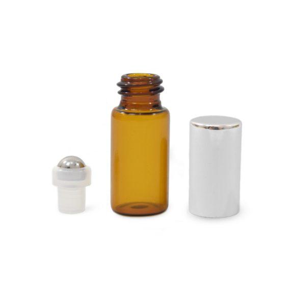Mini golyós üveg 3 ml ezüst kupakkal