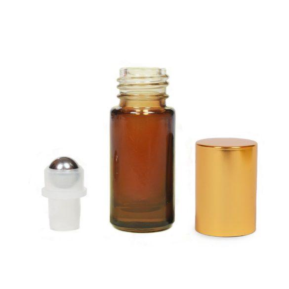 Mini golyós üveg 5 ml arany kupakkal