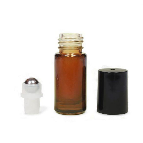 Mini golyós üveg 5 ml fekete kupakkal