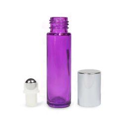 Mini golyós üveg lila 10 ml ezüst kupakkal