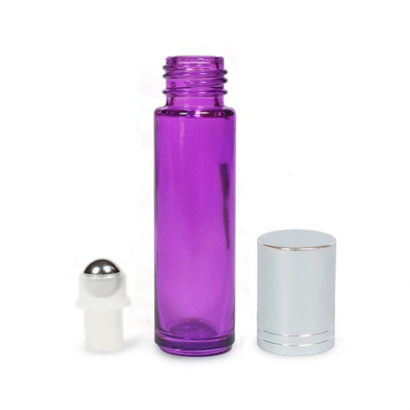 Mini golyós üveg lila 10 ml ezüst (csíkos) kupakkal