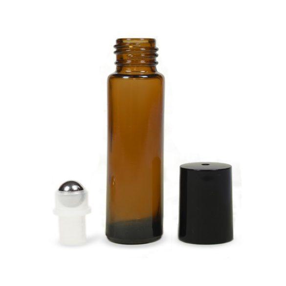 Mini golyós üveg 10 ml fekete kupakkal