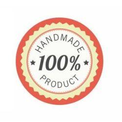 Körcímke - 100% handmade product piros széllel - 20 db/cs