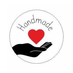 Körcímke - Handmade szívvel - 20 db/cs
