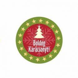 Karácsonyi körcímke - Boldog karácsonyt csillagos széllel - 20 db/cs