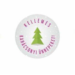 Karácsonyi körcímke - Kellemes ünnepeket - 20 db/cs