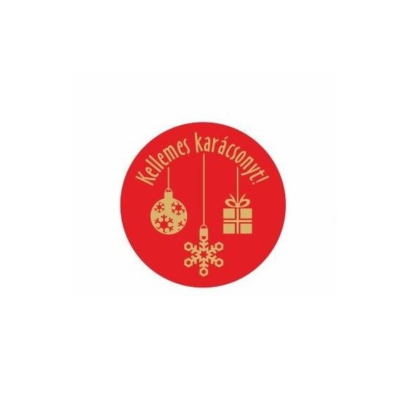 Karácsonyi körcímke - Kellemes karácsonyt - 20 db/cs