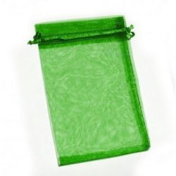 Organza tasak 10x15 cm - smaragzöld - 10 db/cs