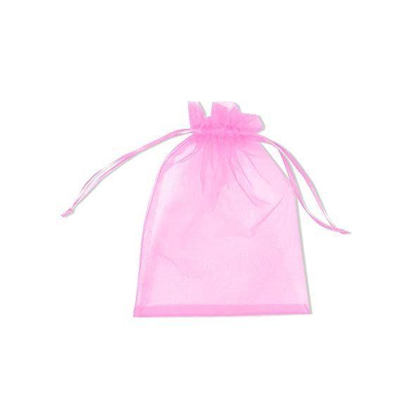 Organza tasak 10x15 cm - flamingó rózsaszín - 10 db/cs